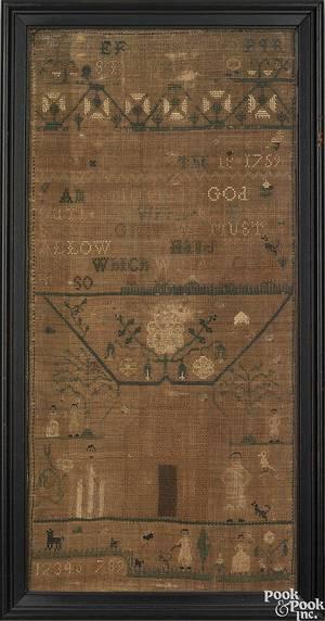 Pair of Newport Rhode Island silk on linen needlework samplers