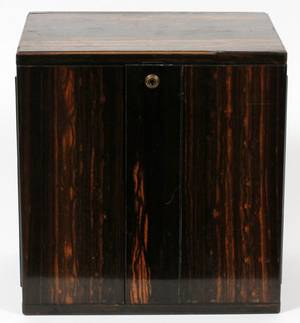 ENGLISH 3 DRAWER ZEBRA WOOD CAMPAIGN CHEST 19TH C