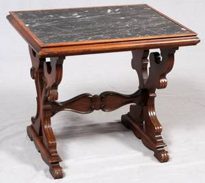 WALNUT AND BLACK MARBLE TOP SIDE TABLE 20TH C