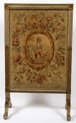 FRENCH TAPESTRY FIRE SCREEN EARLY 20TH C