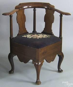 George II mahogany corner chair mid 18th c