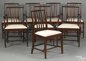 Set of 8 English mahogany dining chairs 19th c