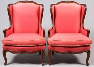 UPHOLSTERED WING BACK CHAIRS PAIR