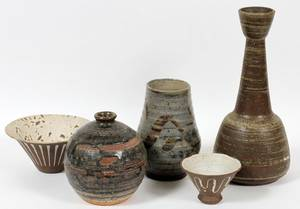 JOHN FOSTER POTTERY VESSELS FIVE PIECES
