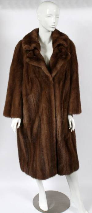 LAZARES LADIES BROWN SHADOW MINK COAT