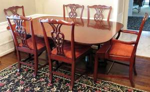 BAKER FURNITURE CO MAHOGANY DINING TABLE  CHAIRS