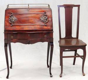 MAHOGANY SLANT FRONT DESK AND CHAIR