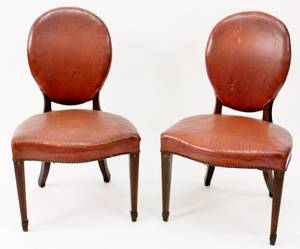 Pair of 19thC Leather Occasional Side Chairs