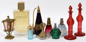FRENCH  CZECH GLASS PERFUME BOTTLES EARLY 20TH