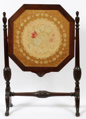 MAHOGANY  NEEDLEPOINT FIRE SCREEN EARLY 20TH C