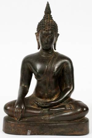 SUKHOTHAI STYLE BRONZE SEATED BUDDHA