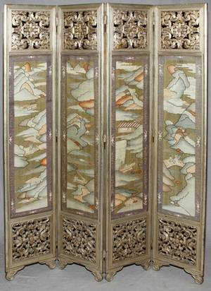 CHINESE SILK FOUR PANEL FOLDING SCREEN
