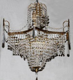 BRASS AND CRYSTAL NINELIGHT CHANDELIER