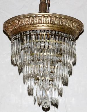 BRONZE AND CRYSTAL THREELIGHT CHANDELIER