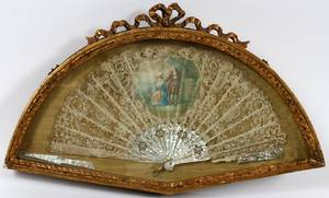 FRENCH MOTHEROFPEARL LACE  PAPER FAN 19TH C