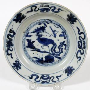 CHINESE BLUE  WHITE PORCELAIN PLATE C 1750
