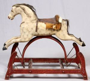AMERICAN CARVED WOOD PLATFORM ROCKING HORSE C 1840