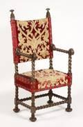 Italian Baroque Style Walnut  Brass Open Armchair
