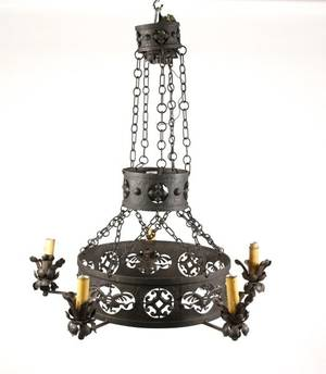 Spanish Revival Style 5 Light Iron Chandelier