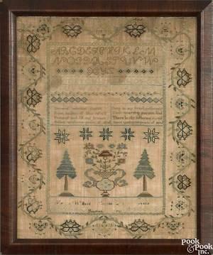 Boston silk on linen needlework dated 181 and wrought by Martha Willard Merritt