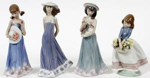 LLADRO PORCELAIN FIGURES OF YOUNG LADIES FOUR