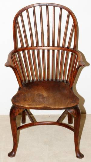 ENGLISH YEW WOOD  ELM WINDSOR ARMCHAIR C 174060