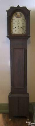Pennsylvania Federal cherry tall case clock ca 1810