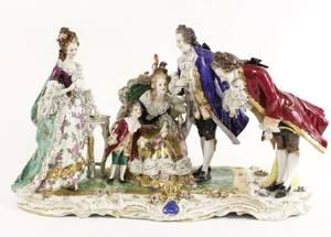 23 Volkstedt Dresden Lace Porcelain Figural Group