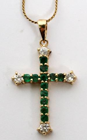14 KT GOLD EMERALDSMALL DIAMOND CROSS  NECKLACE