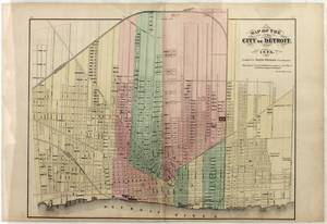 CITY OF DETROIT MAP COLORED LITHOGRAPH 1873