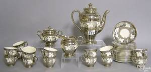 Silver resist luster tea service