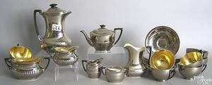 Silver resist luster tea service by Stoke on Trent