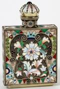RUSSIAN SILVER AND ENAMELED SNUFF BOTTLE