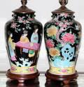 CHINESE FAMILLE NOIRE PORCELAIN LAMPS PAIR