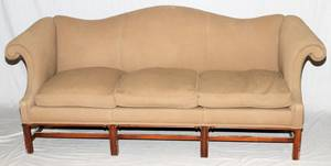 CHIPPENDALE STYLE UPHOLSTERED SOFA MID 20TH C