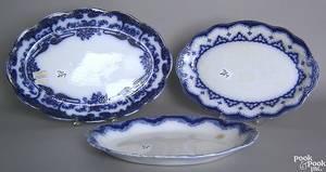 Bristol flow blue platter in the Hilton pattern