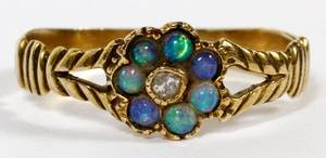 14KT GOLD OPAL  ROSE CUT DIAMOND CHILDS RING