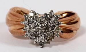 14KT ROSE GOLD  DIAMOND HEART FORM CLUSTER RING
