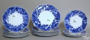 Seven Grindley flow blue plates in the Argyle pattern