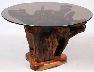 GLASS TOP ROOT TABLE