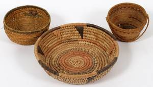 NATIVE AMERICAN INDIAN WOVEN BASKETS THREE