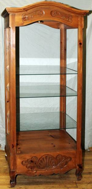 COUNTRY FRENCH WALNUT OPEN CURIO CABINET