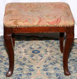 QUEEN ANNE STYLE MAHOGANY BENCH C 1900