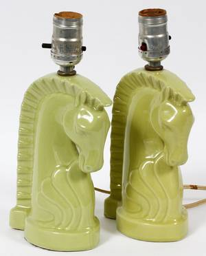 ART DECO STYLE GLAZED POTTERY FIGURAL BOUDOIR LAMPS