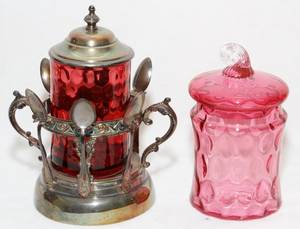 VICTORIAN CRANBERRY GLASS JARS LATE 19TH C TWO