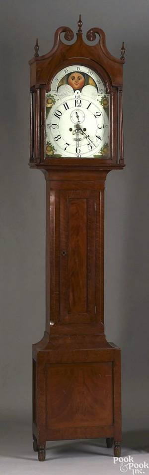 Rare Pennsylvania painted tall case clock ca 1815