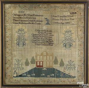 Philadelphia silk on linen needlework dated 1805
