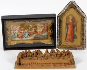 RELIGIOUS MINIATURE PRINTS  LAST SUPPER CARVING