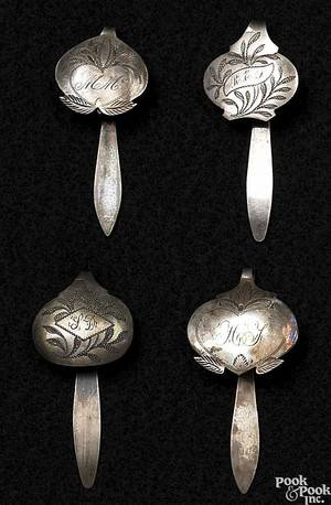 Four American bright cut silver chatelaine hooks late 18thearly 19th c