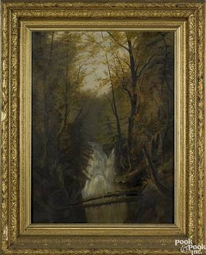 American Schoollate 19th c oil on canvas landscape with waterfall 27 x 20